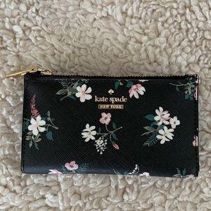 Kate Spade Black Leather Floral Wallet